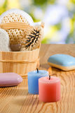 Bath accessories on the wooden table closeup Royalty Free Stock Photography