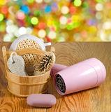 Bath accessories on the wooden table closeup Royalty Free Stock Images