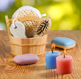 Bath accessories on the wooden table closeup Stock Photos