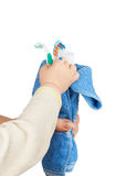 Bath accessories wrapped in a blue towel Stock Photos