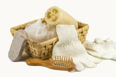 Bath accessory, various spa and beauty threatment products, body scrub in wooden basket. stock photography