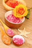Bath aromatic salt, rose and sea stars stock photos