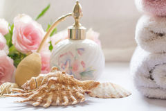 Bath arrangement with perfume bottle Stock Images