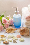 Bath arrangement with romantic pink roses. Seashells and soap diffuser Stock Images