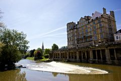 Bath from the Avon River. View of Bath from the Avon river stock photo