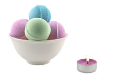 Bath balls and candle Royalty Free Stock Images