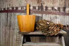 Bath Barrel with broom Royalty Free Stock Images