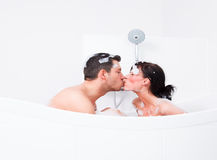 Bath bathtube man bodycare Royalty Free Stock Photo