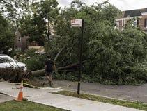 Bath Beach, Bensonhurst, Brooklyn, New York - August 4, 2020: Damage done by Hurricane Isaias