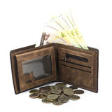 Bath bill in the brown wallet and coin. Royalty Free Stock Image