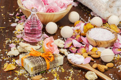 Bath and body natural skin care ingredients Stock Images