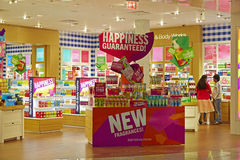 Bath and body works store, interior view stock images