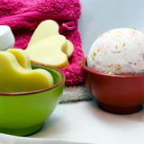 Bath bomb. Handmade bath bomb and soap Stock Image