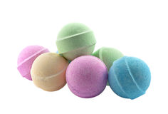 Bath bombs. Isolated on the white background royalty free stock images