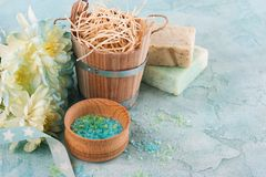 Bath bombs on blue concrete background Stock Images