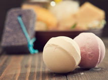 Bath bombs closeup with spa products on background Royalty Free Stock Image