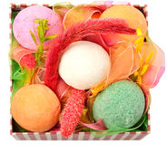Bath bombs with decor in the box Stock Image