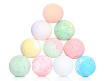 Bath bombs on white background Stock Photos