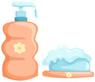 Bath bottle and soap Stock Photos