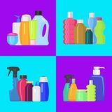 Bath bottles banner vector illustration. Plastic containers bottles, tubes and jars for cream, body lotion, shampoo and. Soap, milk and gel. Household chemicals royalty free illustration