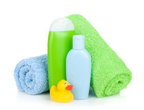 Bath bottles, towel and rubber duck. Isolated on white background stock images