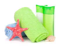 Bath bottles, towel and starfish Stock Photography