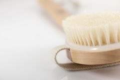 Bath brush. Selective focus. Close-up Royalty Free Stock Image