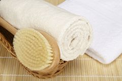 Free Bath Brush And Rolled Towel In A Basket Stock Image - 37114161