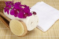 Bath brush and rolled towel in a basket. A bath brush and a rolled up terry clothed towel are laying into a basket. A folded white towel is located beneath the Stock Image