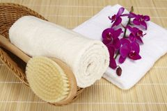 Bath brush and rolled towel in a basket. A bath brush and a rolled up terry clothed towel are laying into a basket. A folded white towel is located beneath the Stock Photo