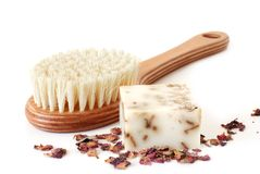 Bath brush and rose soup Stock Photos