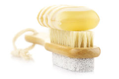 Bath brush and soap Stock Image
