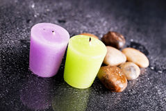 Bath Candles Showered in Water Stock Photography