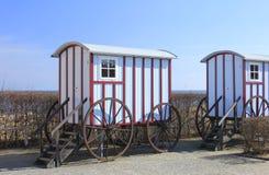 Bath car. Replicas of historic bath cars in the seaside resort Bansin, Baltic Sea, Germany Stock Image