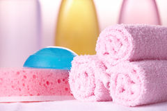Bath care objects closeup Royalty Free Stock Photo