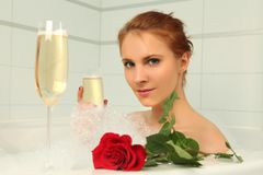 Bath with champagne Stock Images