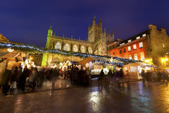 Bath Christmas Market at Night Stock Photo