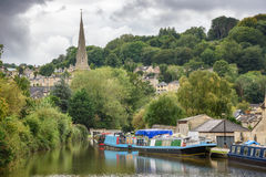 Bath City Somerset UK. Yatches moored on the bank of  river Avon in City of Bath, Somerset, England Royalty Free Stock Images