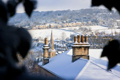 Bath City Winter View. Winter view looking across the snow covered rooftops in Bath, UK Royalty Free Stock Photo