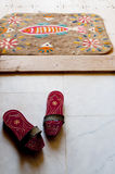 Bath clogs and felt doormat at a Turkish hamam Stock Images