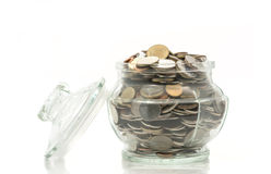 Bath coins in a glass jar with lid Royalty Free Stock Images