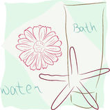 Bath concept. Abstract bath concept - sea star, tube, red flower, towel Stock Photo