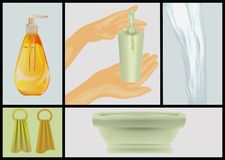 Bath and detergents. Human hands and soap Royalty Free Stock Photos