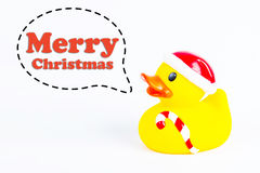 Bath duck with callout symbol and message  `merry christmas`  on white background Stock Photography