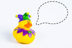 Bath duck with with callout symbol on white background,duck toy,Cute yellow rubber duck Royalty Free Stock Photos