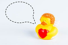 Bath duck with with callout symbol on white background,duck toy,Cute yellow rubber duck Royalty Free Stock Images
