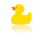 Bath duck yellow vector. Vector illustration of yellow rubber bath duck Royalty Free Stock Image