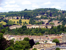Bath, England. Aerial view of the Royal Crescent and houses of Bath, England Stock Photography