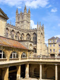 Bath, England. A view of Bath Abbey from the ancient Roman baths of Bath, England Royalty Free Stock Images