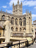 Bath, England. A view of Bath Abbey and statues of the ancient Roman baths of Bath, England Royalty Free Stock Images